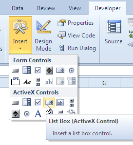 ListBox control tool