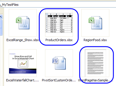 Excel Preview Thumbnails