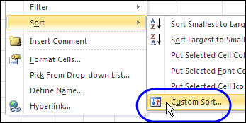custom sort popup menu
