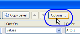 sort options button