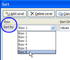 select row to sort by