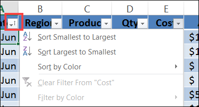 drop down list to sort and filter