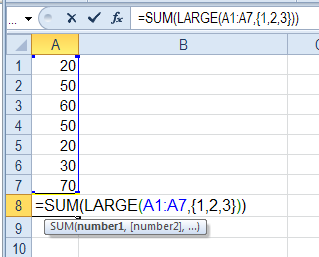 Excel Sum Top 5 Cells