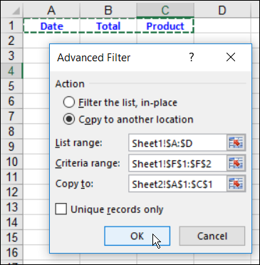Extract Data to Another Sheet