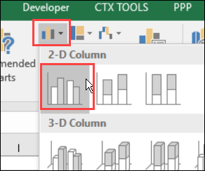 clustered column chart for static range