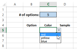 select from color drop downs