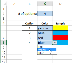 change a color selection