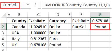 currency VLOOKUP formula