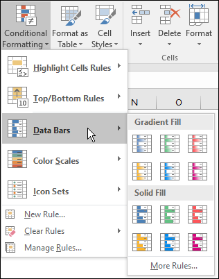 Excel Data Bars fill options