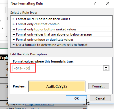 conditional formatting rule