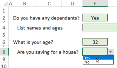 show hidden questions with conditional formatting