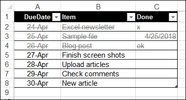 Conditional Formatting Strikethrough
