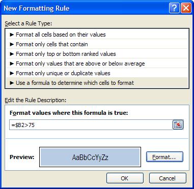 regra de formatação condicional