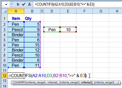 How to Count in Excel Functions