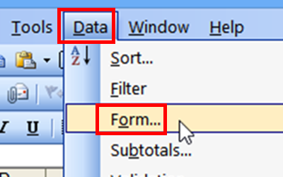 menu command in Excel 2003