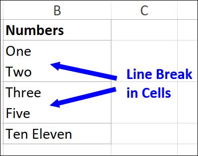 line breaks in cell