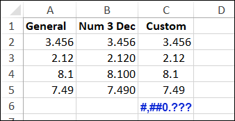 custom number format decimals