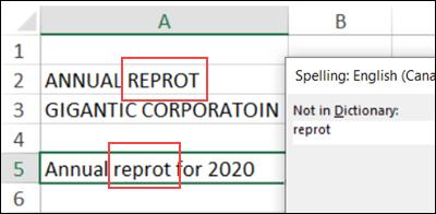 spelling error in Excel