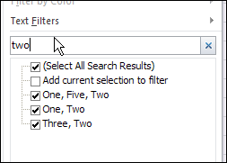 type in the filter Search box