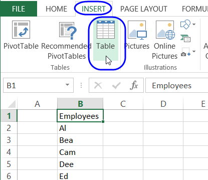 list of options for drop down