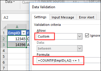 create a custom rule for no duplicates in a table column