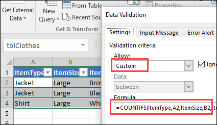 create a custom rule for no duplicates in multiple columns