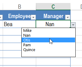 drop down list of names