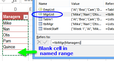 blank cell in named range
