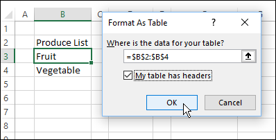 named table