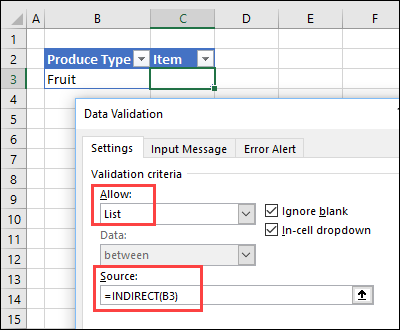 How to make Excel Data Validation Dependent Lists
