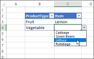 test the dependent drop down list