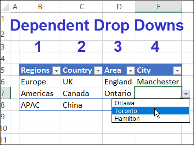multiple dependent drop down lists