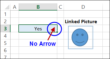 no arrow Excel 2013