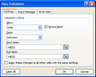 Excel Data Validation Criteria Examples