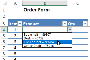 drop down list shows product name and code