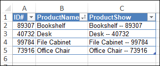 list formatted as named Excel table