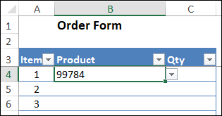 cell value changes to product code number