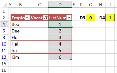 number visible rows with SUBTOTAL