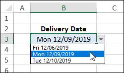 dynamic list of dates