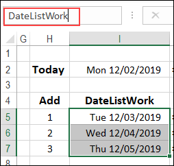 WORKDAY formula results