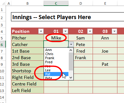 assign players per inning