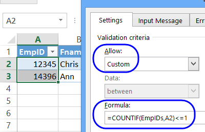 prevent duplicates in column
