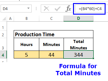 formula for total minutes production time