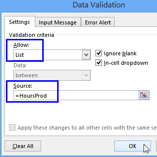 production hours data validation window