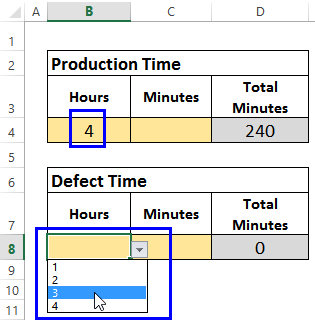 production hours drop down list