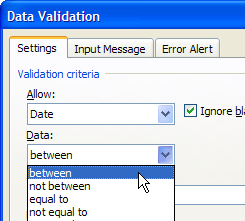 data validation between