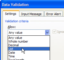 data validation date allow list