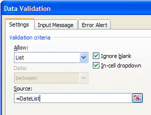 data validation list source