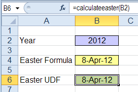 Easter date calculations in Excel