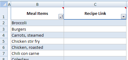 excel weekly meal planner